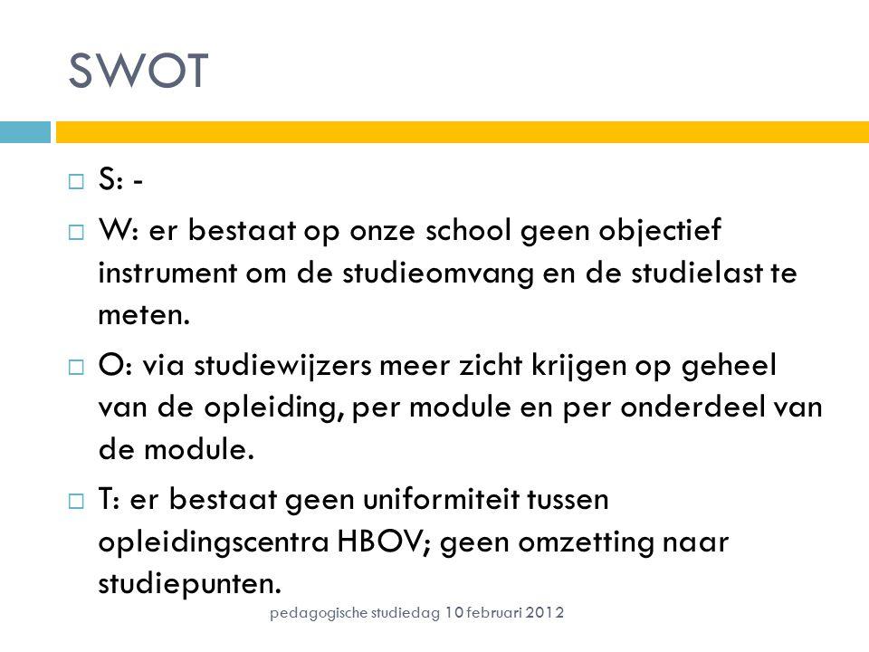 SWOT S: - W: er bestaat op onze school geen objectief instrument om de studieomvang en de studielast te meten.