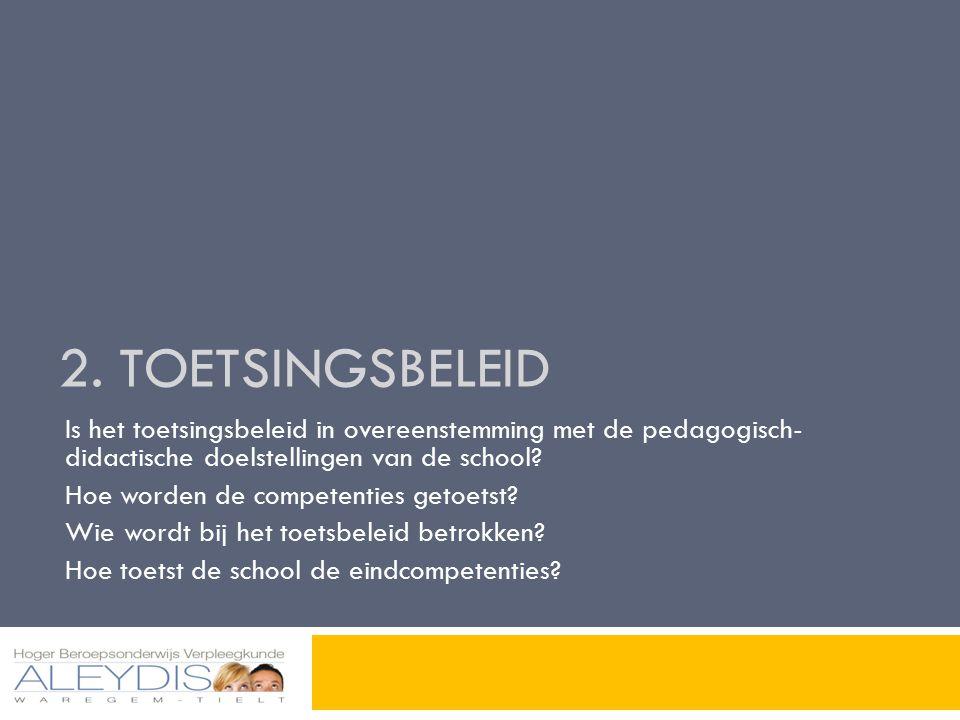 2. Toetsingsbeleid Is het toetsingsbeleid in overeenstemming met de pedagogisch- didactische doelstellingen van de school
