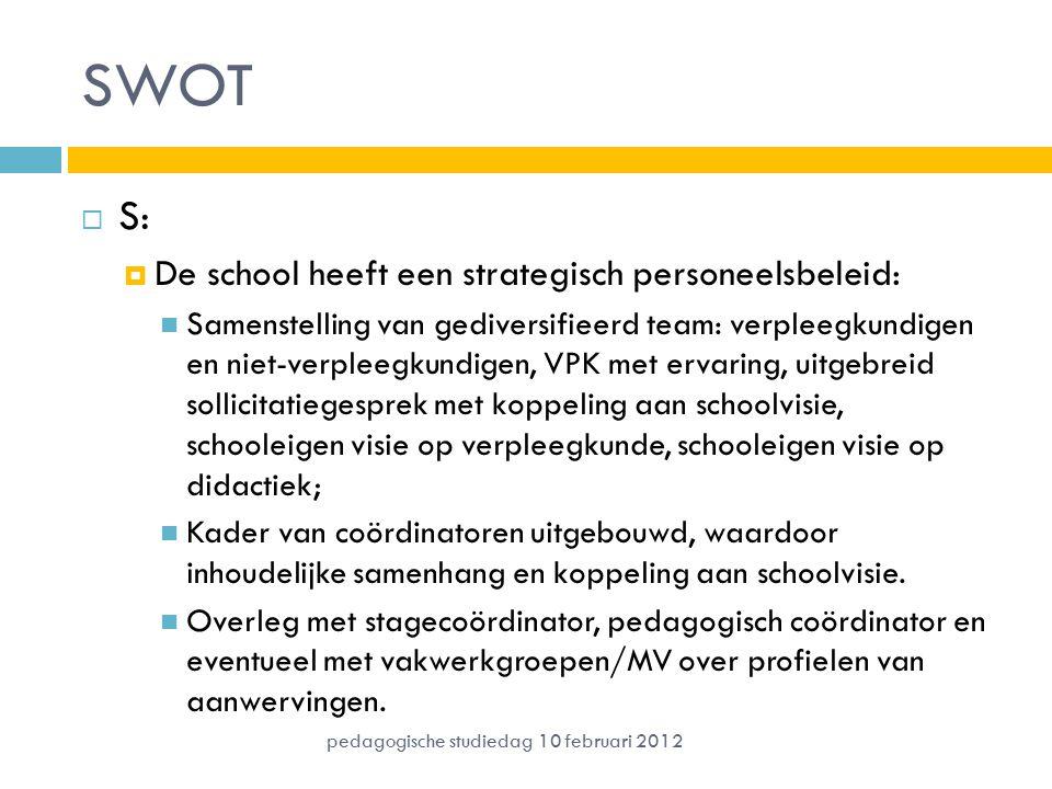 SWOT S: De school heeft een strategisch personeelsbeleid: