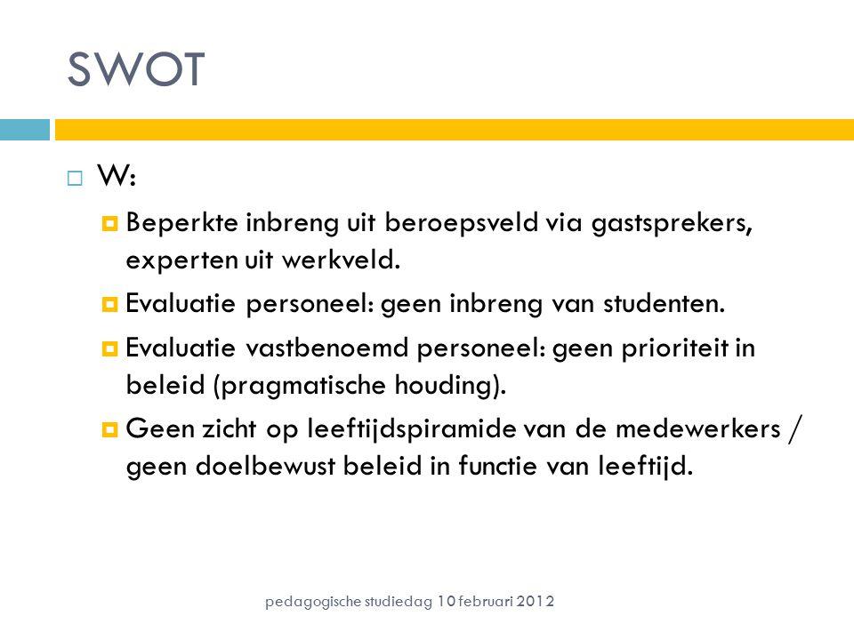 SWOT W: Beperkte inbreng uit beroepsveld via gastsprekers, experten uit werkveld. Evaluatie personeel: geen inbreng van studenten.