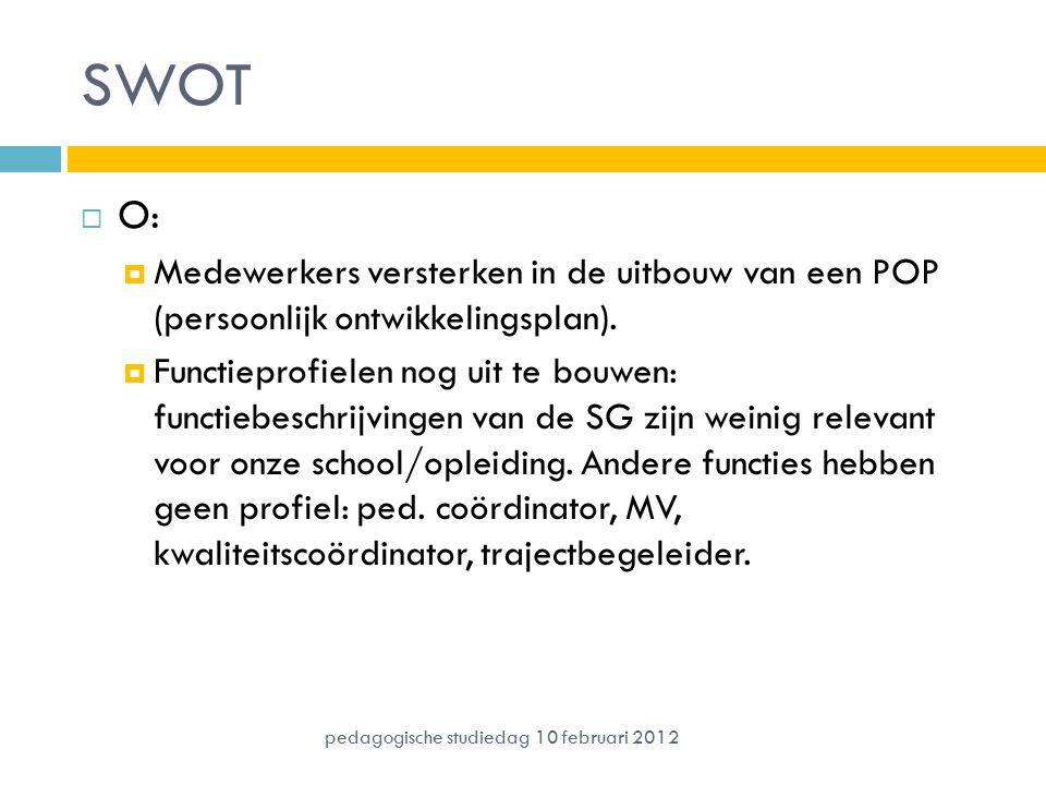 SWOT O: Medewerkers versterken in de uitbouw van een POP (persoonlijk ontwikkelingsplan).