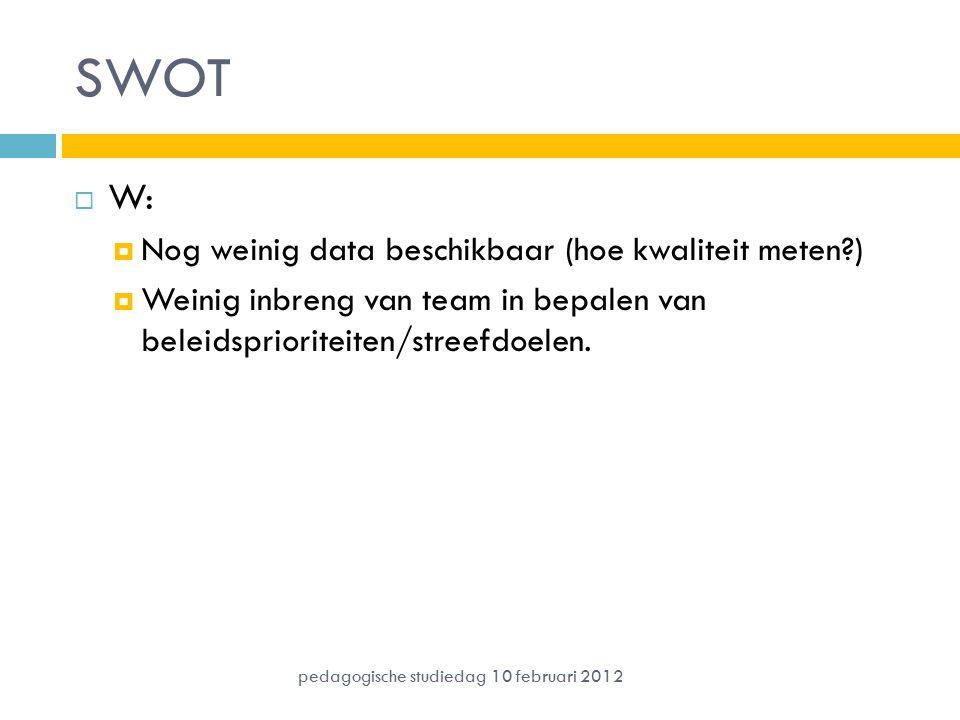 SWOT W: Nog weinig data beschikbaar (hoe kwaliteit meten )