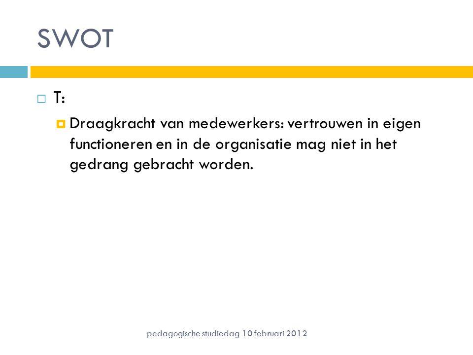 SWOT T: Draagkracht van medewerkers: vertrouwen in eigen functioneren en in de organisatie mag niet in het gedrang gebracht worden.