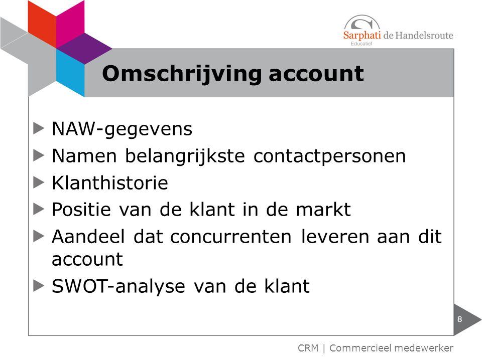 Omschrijving account NAW-gegevens Namen belangrijkste contactpersonen
