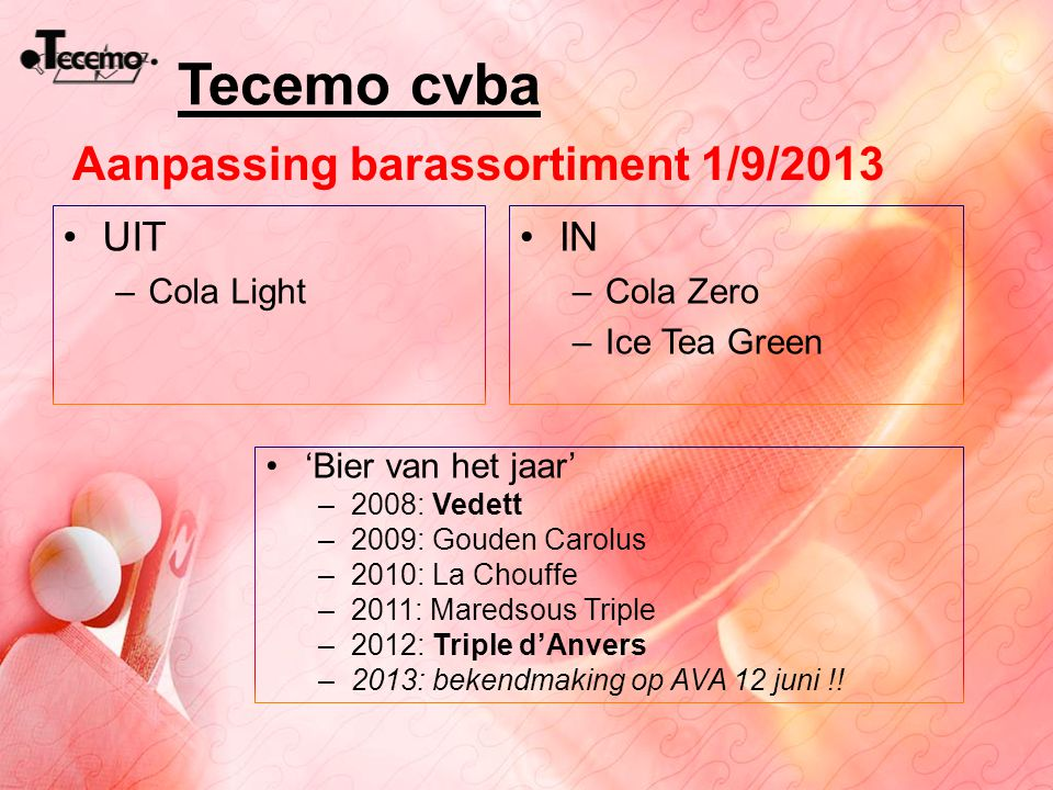 Tecemo cvba Aanpassing barassortiment 1/9/2013 UIT IN Cola Light