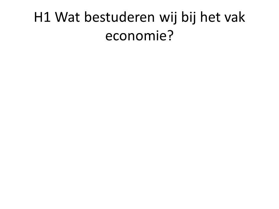 H1 Wat bestuderen wij bij het vak economie