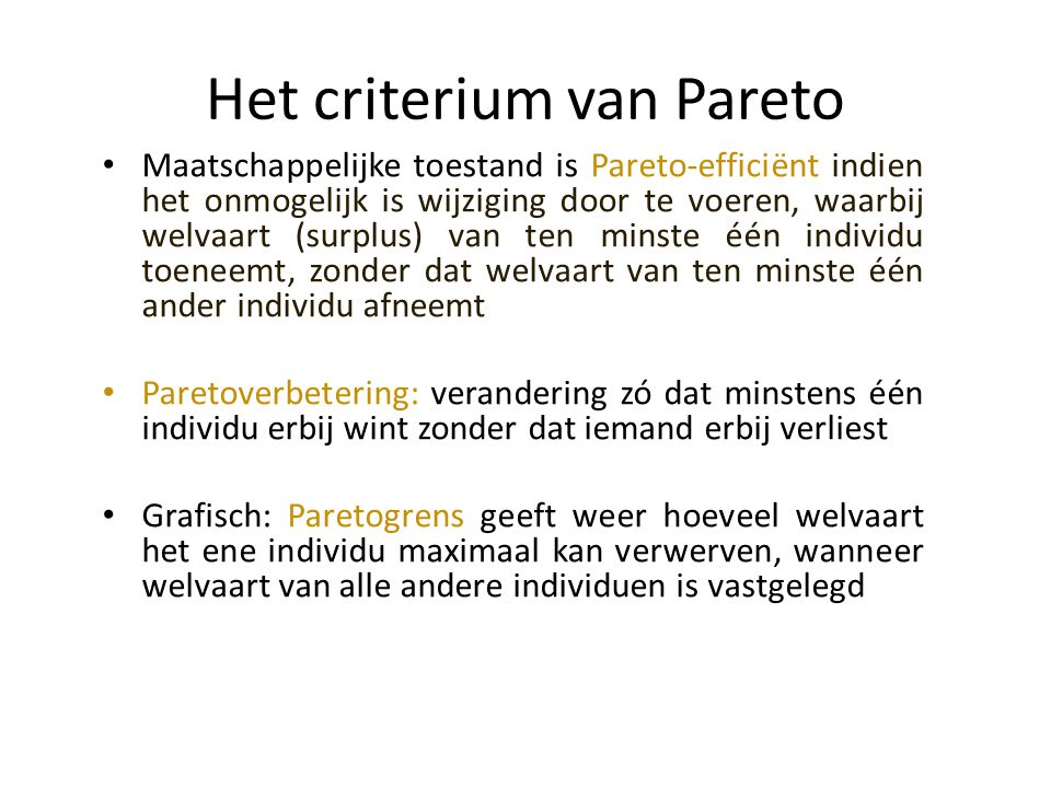 Het criterium van Pareto