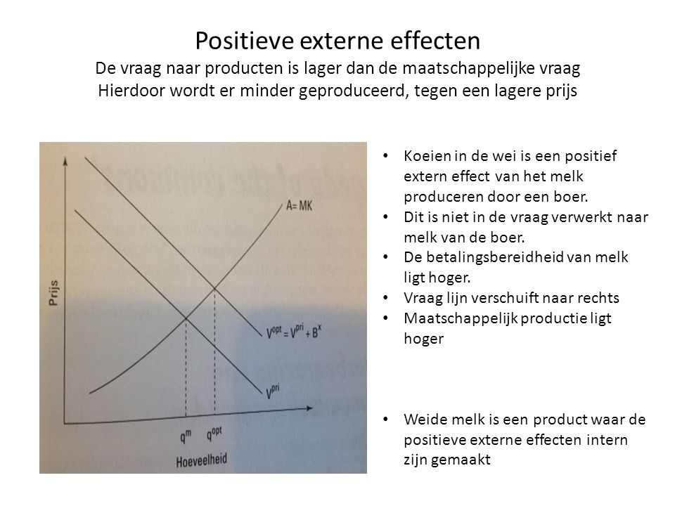 Positieve externe effecten De vraag naar producten is lager dan de maatschappelijke vraag Hierdoor wordt er minder geproduceerd, tegen een lagere prijs