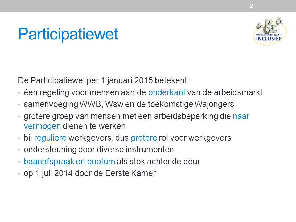 Participatiewet De Participatiewet per 1 januari 2015 betekent: