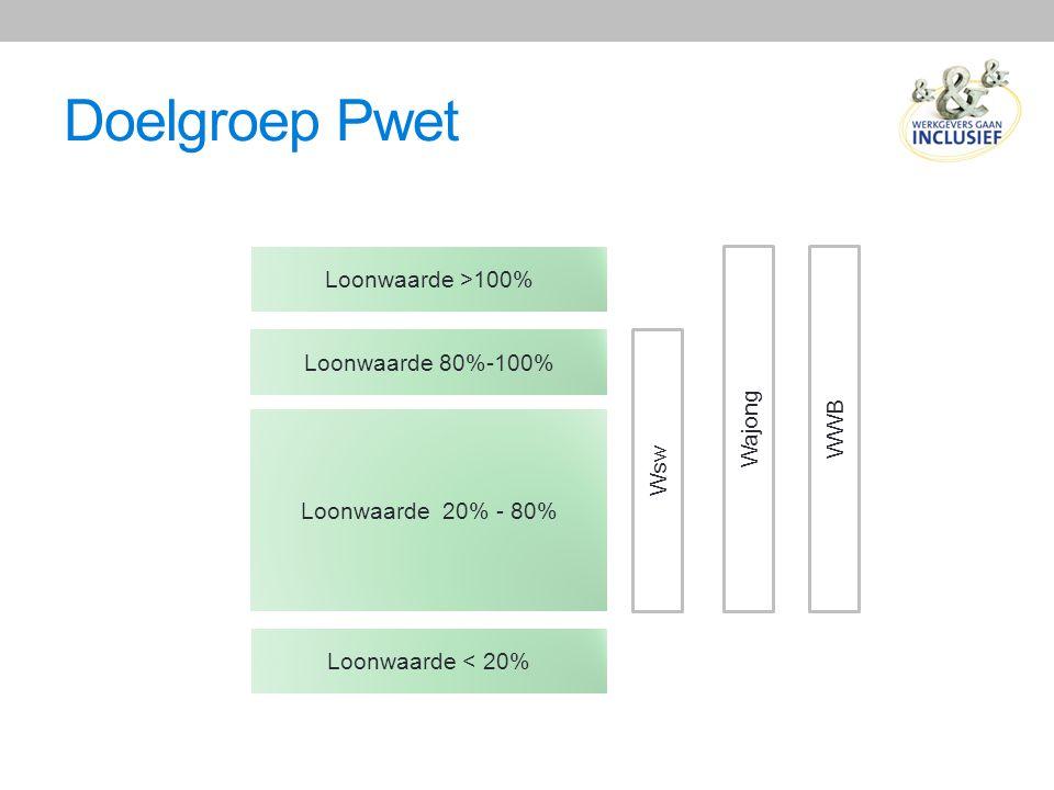 Doelgroep Pwet Loonwaarde >100% Wajong WWB Loonwaarde 80%-100% Wsw