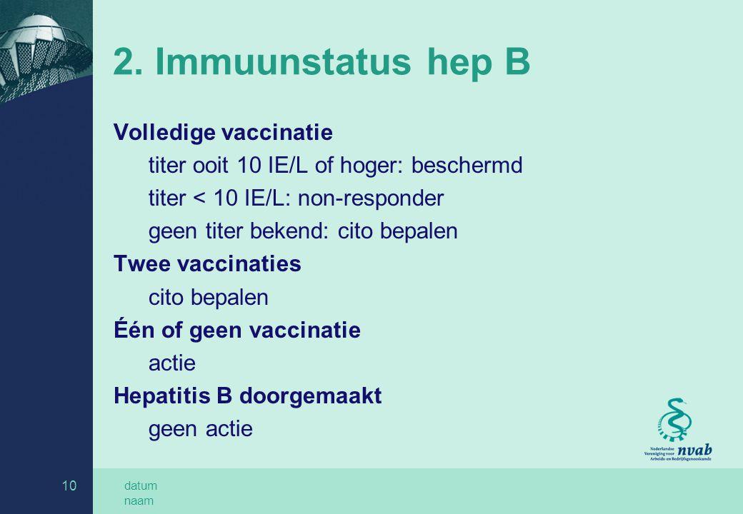 2. Immuunstatus hep B Volledige vaccinatie