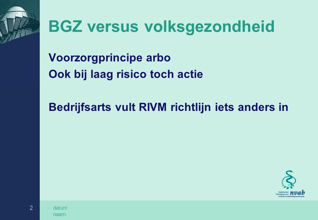 BGZ versus volksgezondheid