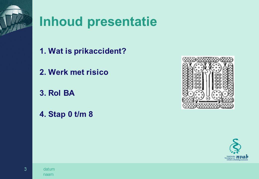 Inhoud presentatie 1. Wat is prikaccident 2. Werk met risico
