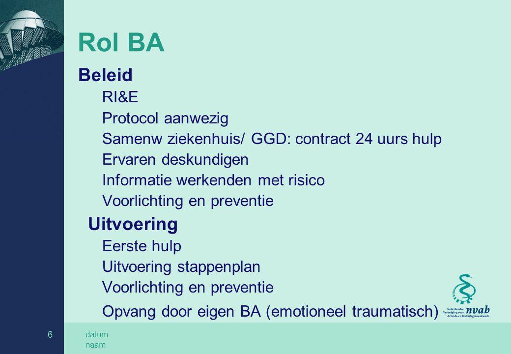 Rol BA Uitvoering Beleid RI&E Protocol aanwezig