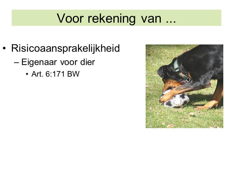 Voor rekening van ... Risicoaansprakelijkheid Eigenaar voor dier