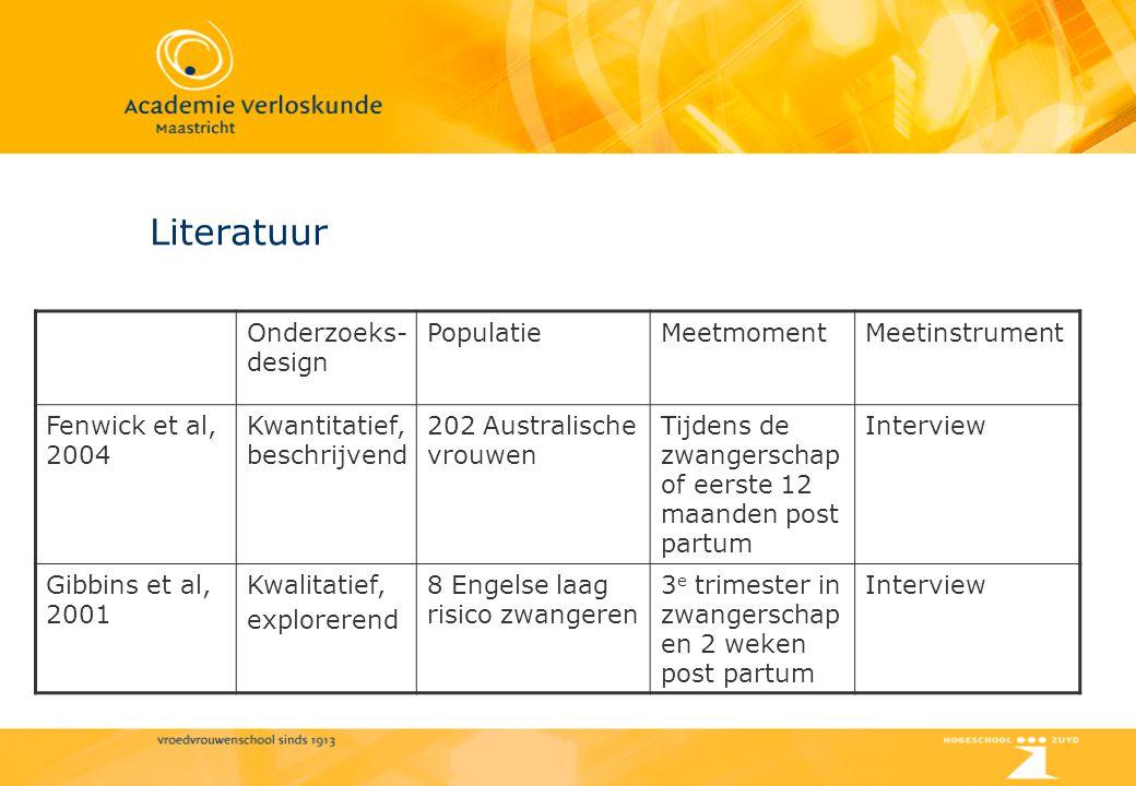 Literatuur Onderzoeks-design Populatie Meetmoment Meetinstrument