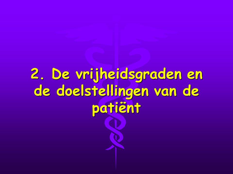 2. De vrijheidsgraden en de doelstellingen van de patiënt