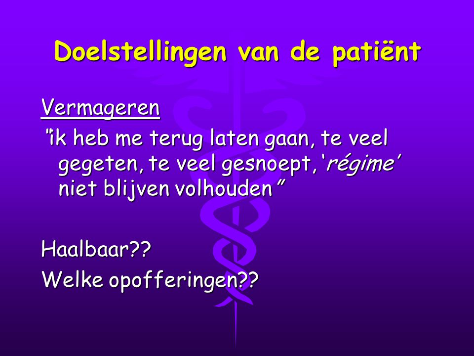 Doelstellingen van de patiënt