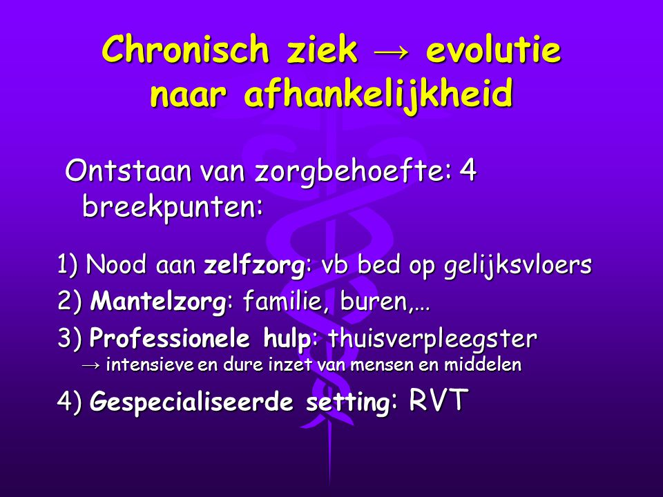 Chronisch ziek → evolutie naar afhankelijkheid
