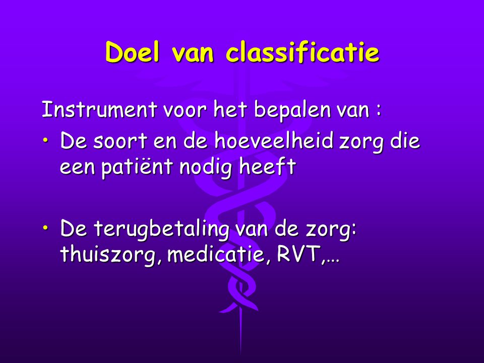 Doel van classificatie