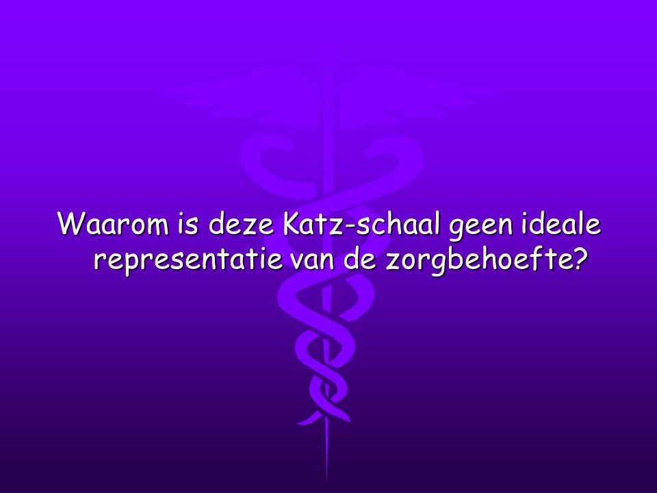 Waarom is deze Katz-schaal geen ideale representatie van de zorgbehoefte