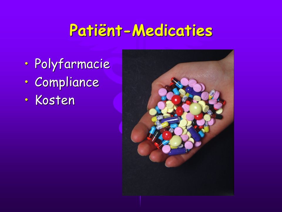 Patiënt-Medicaties Polyfarmacie Compliance Kosten
