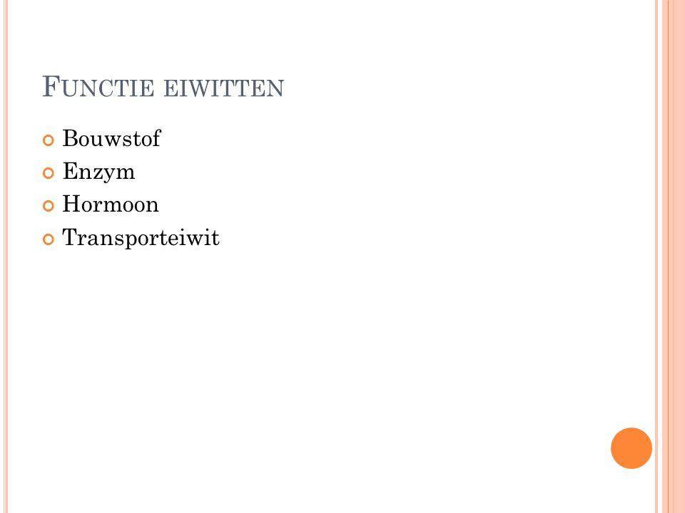 Functie eiwitten Bouwstof Enzym Hormoon Transporteiwit
