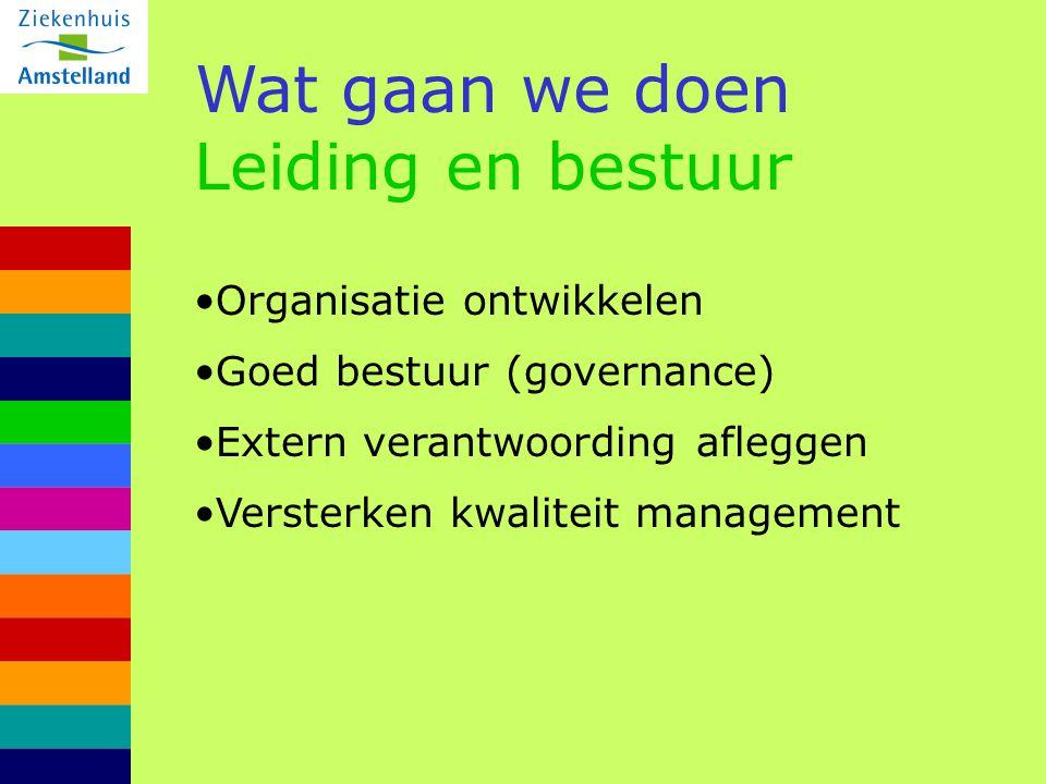 Wat gaan we doen Leiding en bestuur