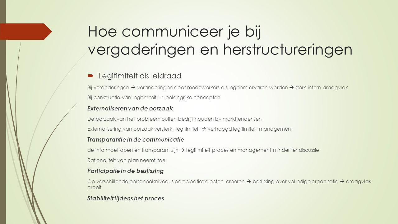 Hoe communiceer je bij vergaderingen en herstructureringen