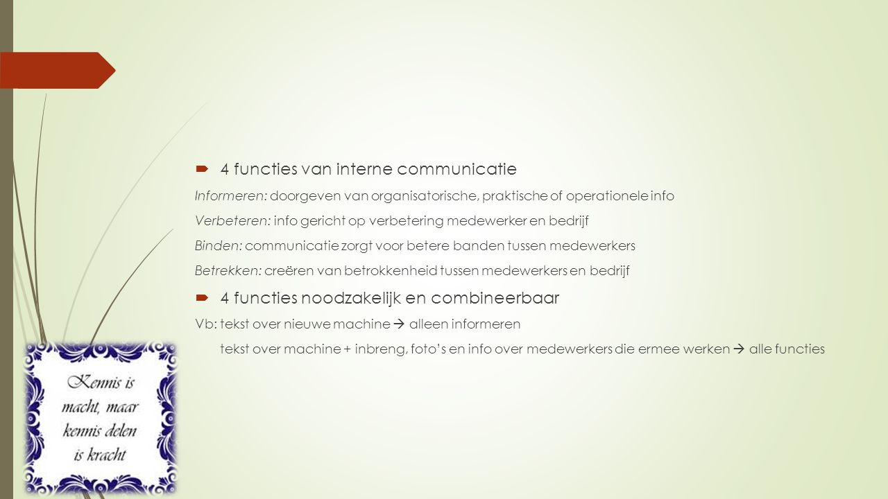 4 functies van interne communicatie