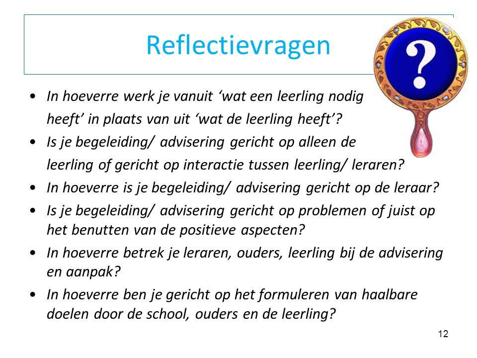 Reflectievragen In hoeverre werk je vanuit 'wat een leerling nodig