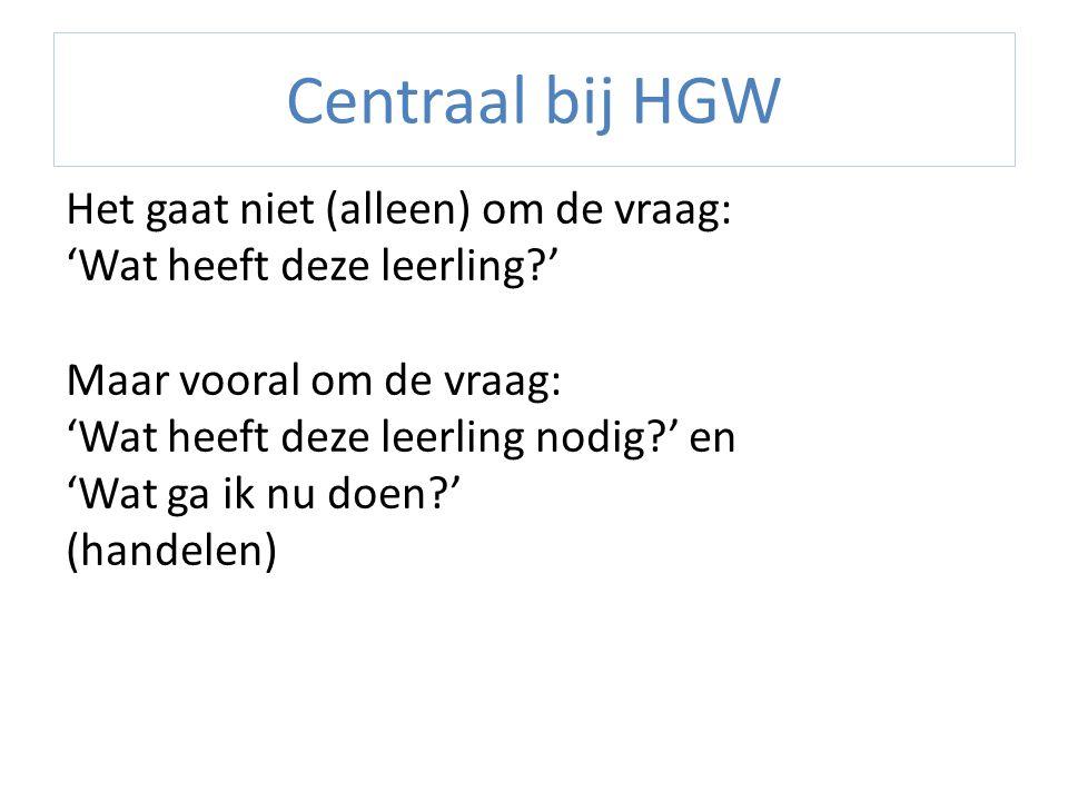 Centraal bij HGW Het gaat niet (alleen) om de vraag: