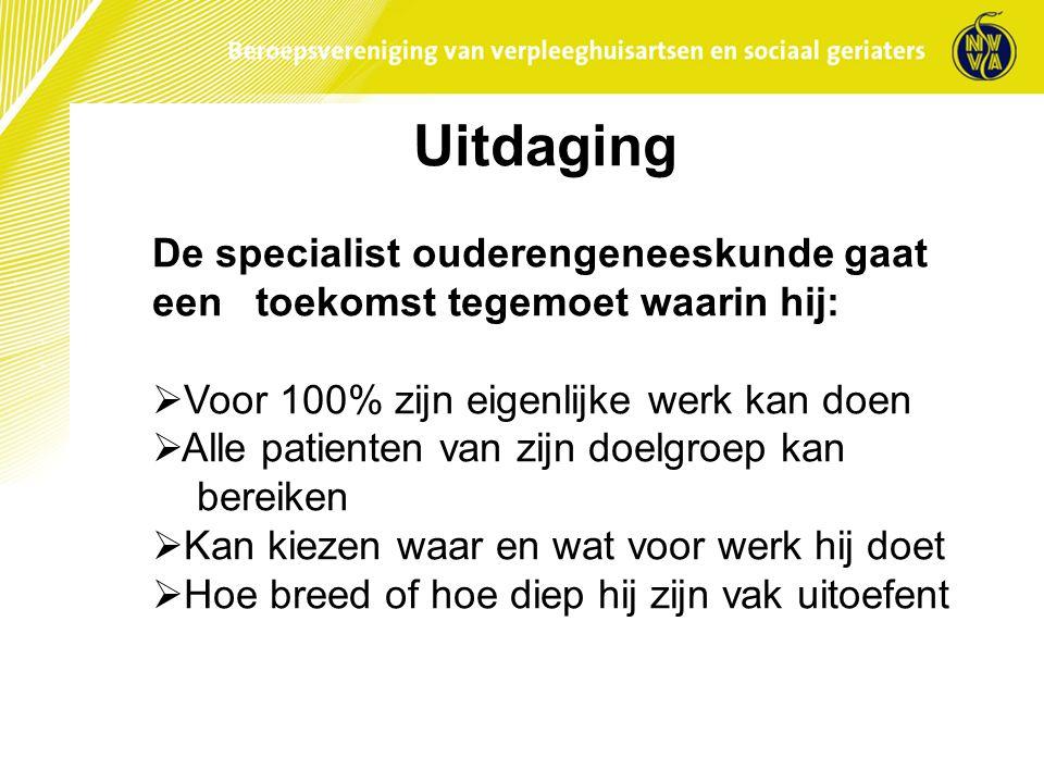 Uitdaging De specialist ouderengeneeskunde gaat een toekomst tegemoet waarin hij: Voor 100% zijn eigenlijke werk kan doen.