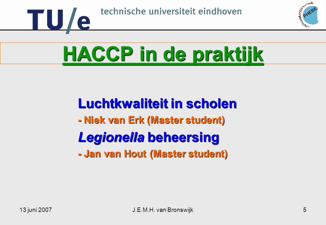 HACCP in de praktijk Luchtkwaliteit in scholen Legionella beheersing