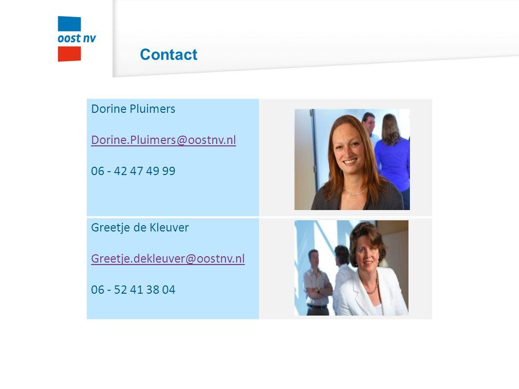 Contact Dorine Pluimers Dorine.Pluimers@oostnv.nl 06 - 42 47 49 99