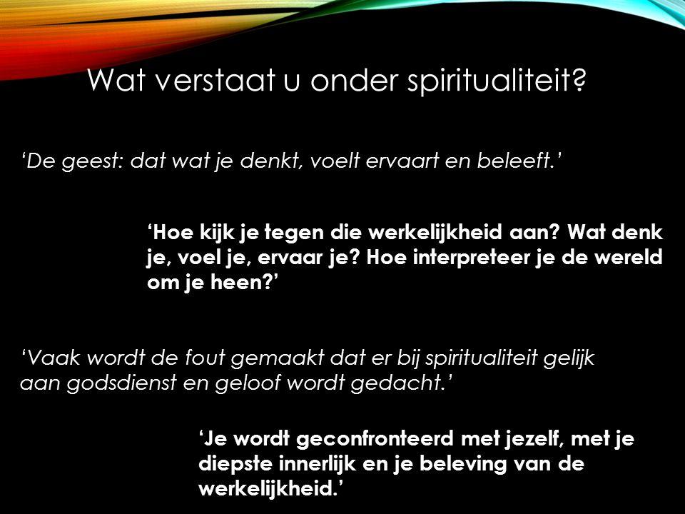 Wat verstaat u onder spiritualiteit