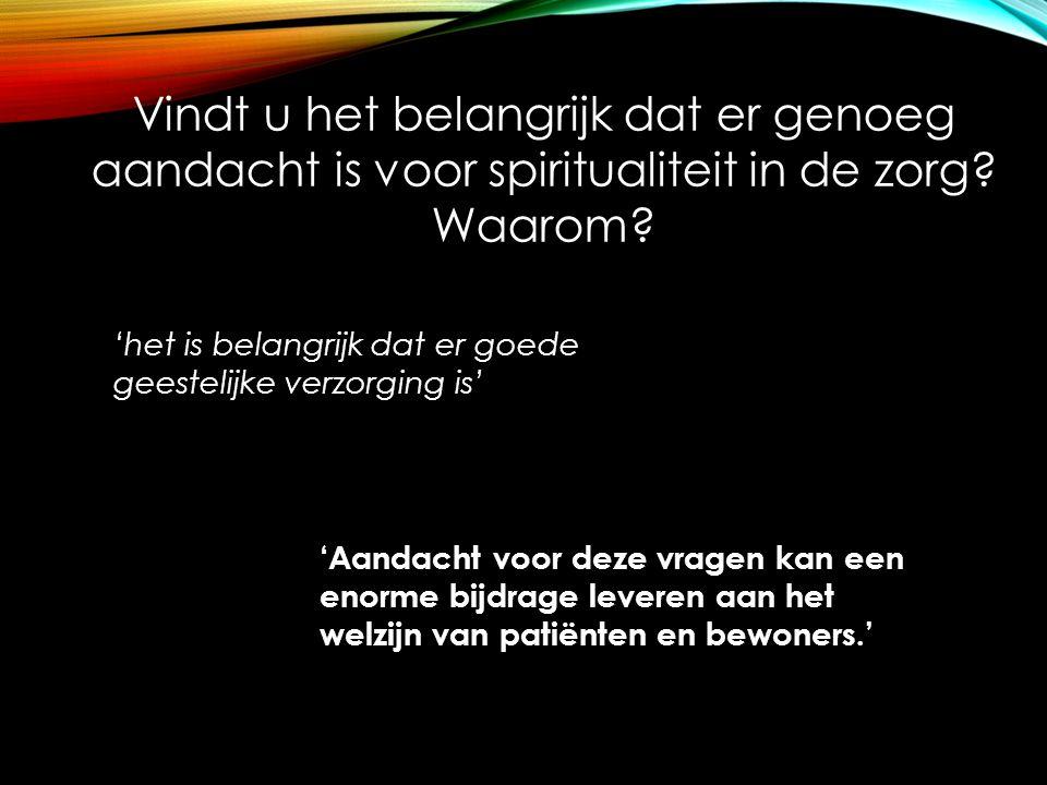 Vindt u het belangrijk dat er genoeg aandacht is voor spiritualiteit in de zorg Waarom