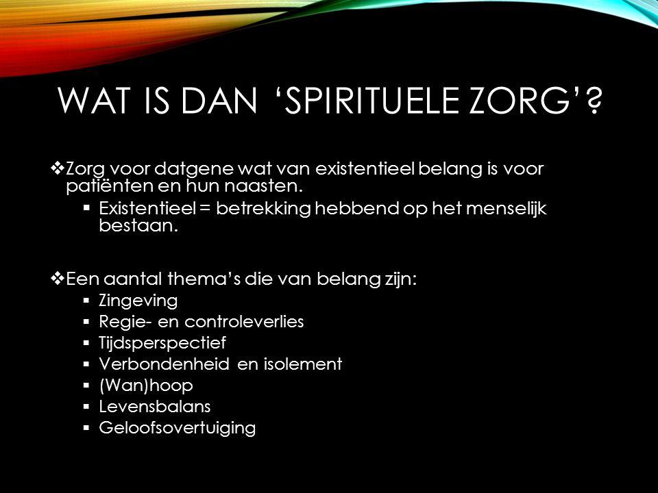 Wat is dan 'spirituele zorg'