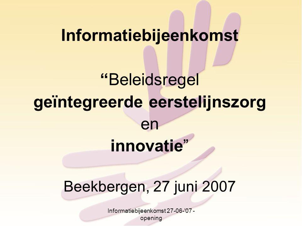 Informatiebijeenkomst geïntegreerde eerstelijnszorg