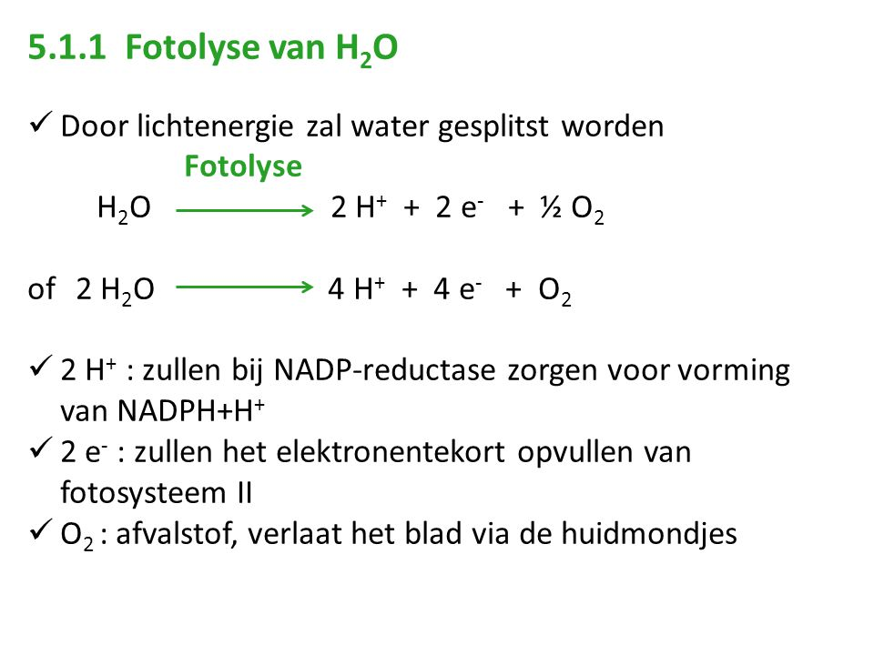 5.1.1 Fotolyse van H2O Door lichtenergie zal water gesplitst worden