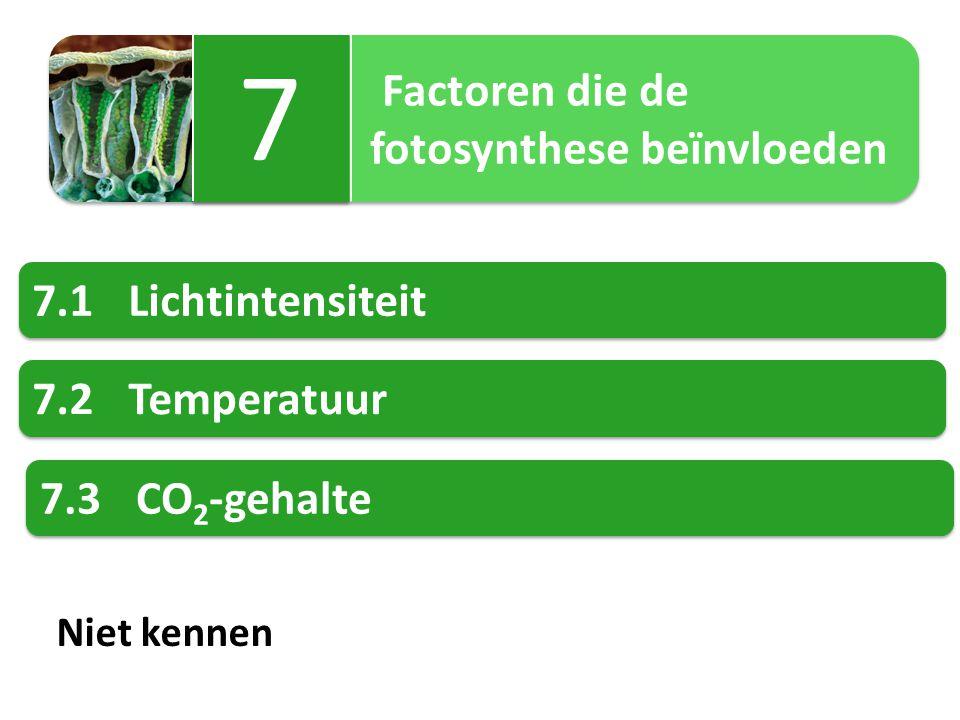 7 fotosynthese beïnvloeden 7.1 Lichtintensiteit 7.2 Temperatuur