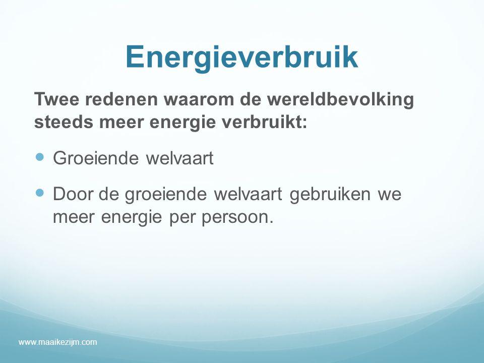 Energieverbruik Twee redenen waarom de wereldbevolking steeds meer energie verbruikt: Groeiende welvaart.