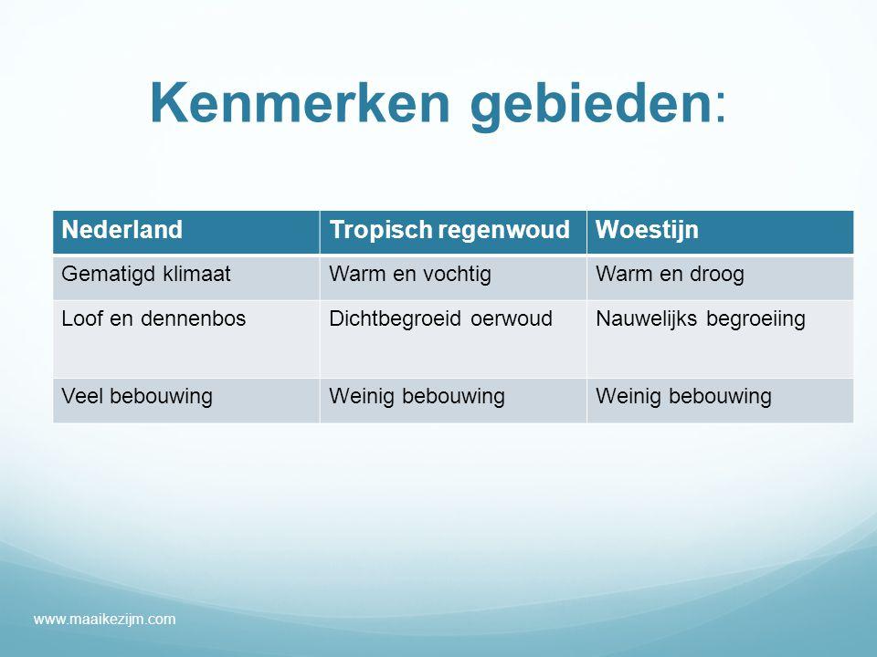 Kenmerken gebieden: Nederland Tropisch regenwoud Woestijn