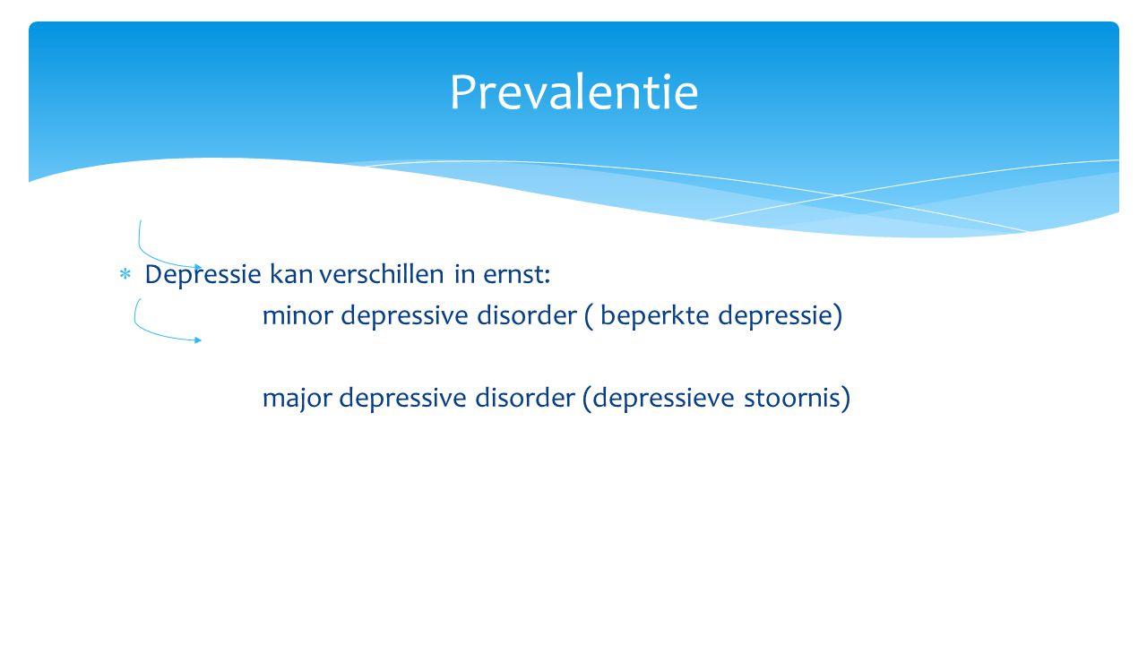 Prevalentie Depressie kan verschillen in ernst: