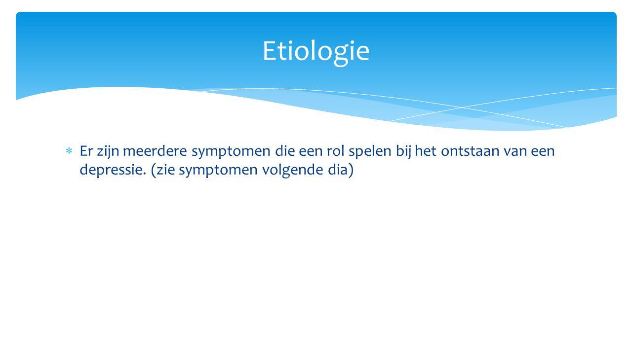 Etiologie Er zijn meerdere symptomen die een rol spelen bij het ontstaan van een depressie.