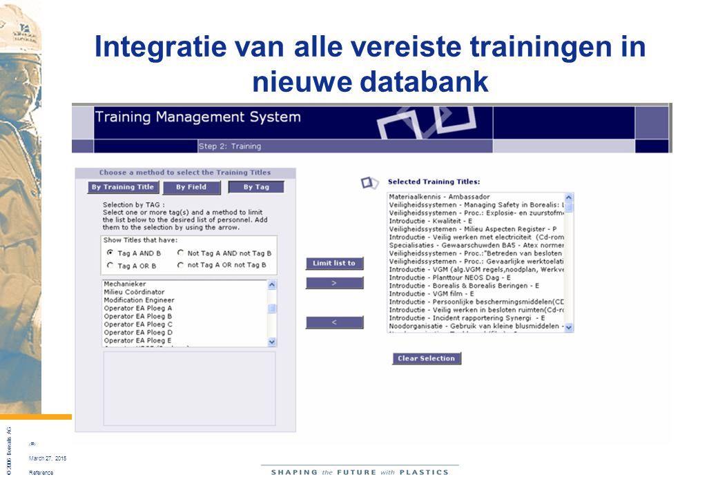 Integratie van alle vereiste trainingen in nieuwe databank