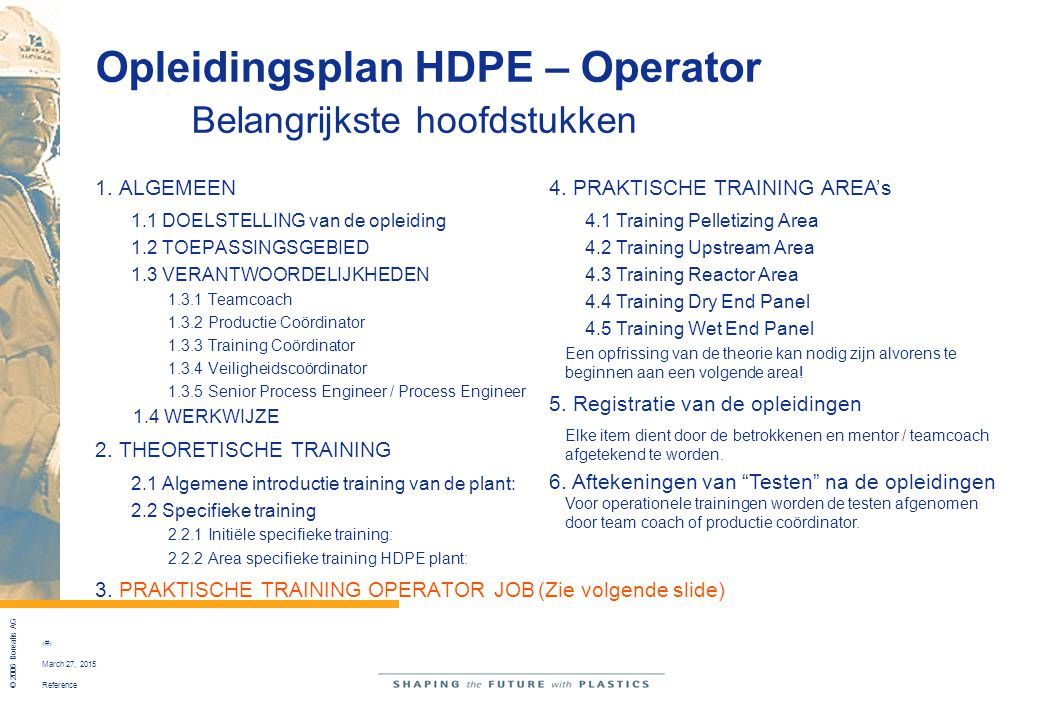 Opleidingsplan HDPE – Operator Belangrijkste hoofdstukken