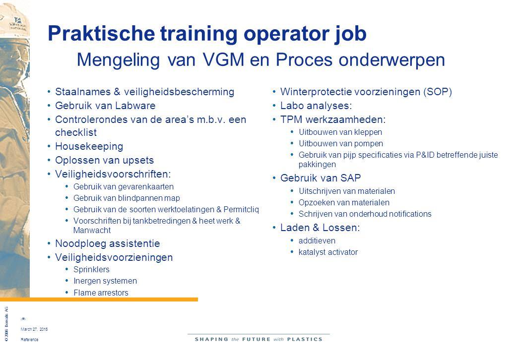 Praktische training operator job Mengeling van VGM en Proces onderwerpen