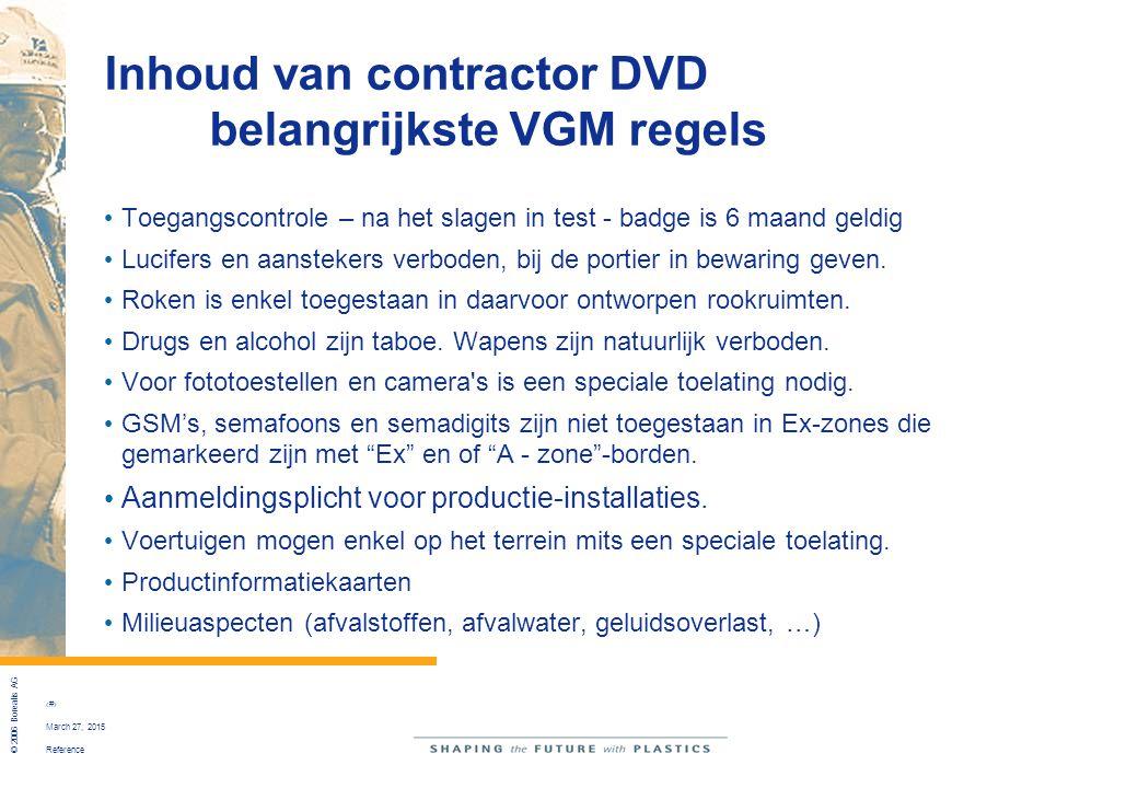 Inhoud van contractor DVD belangrijkste VGM regels