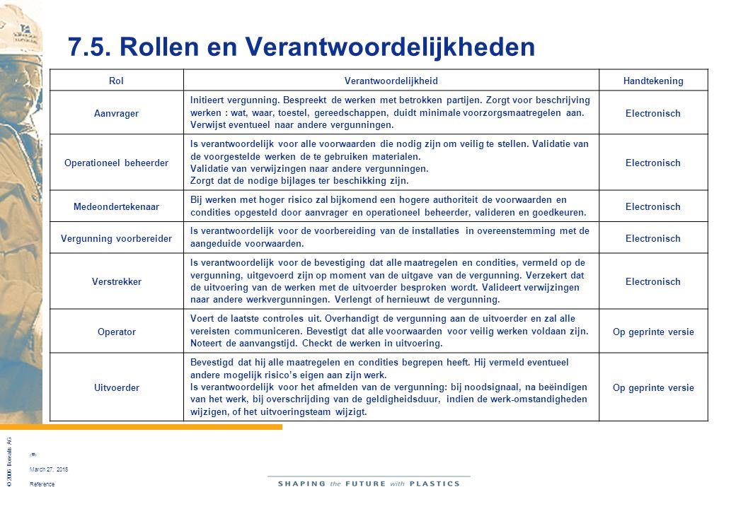 7.5. Rollen en Verantwoordelijkheden